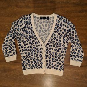 Aqua 100% cashmere leopard print cardigan S